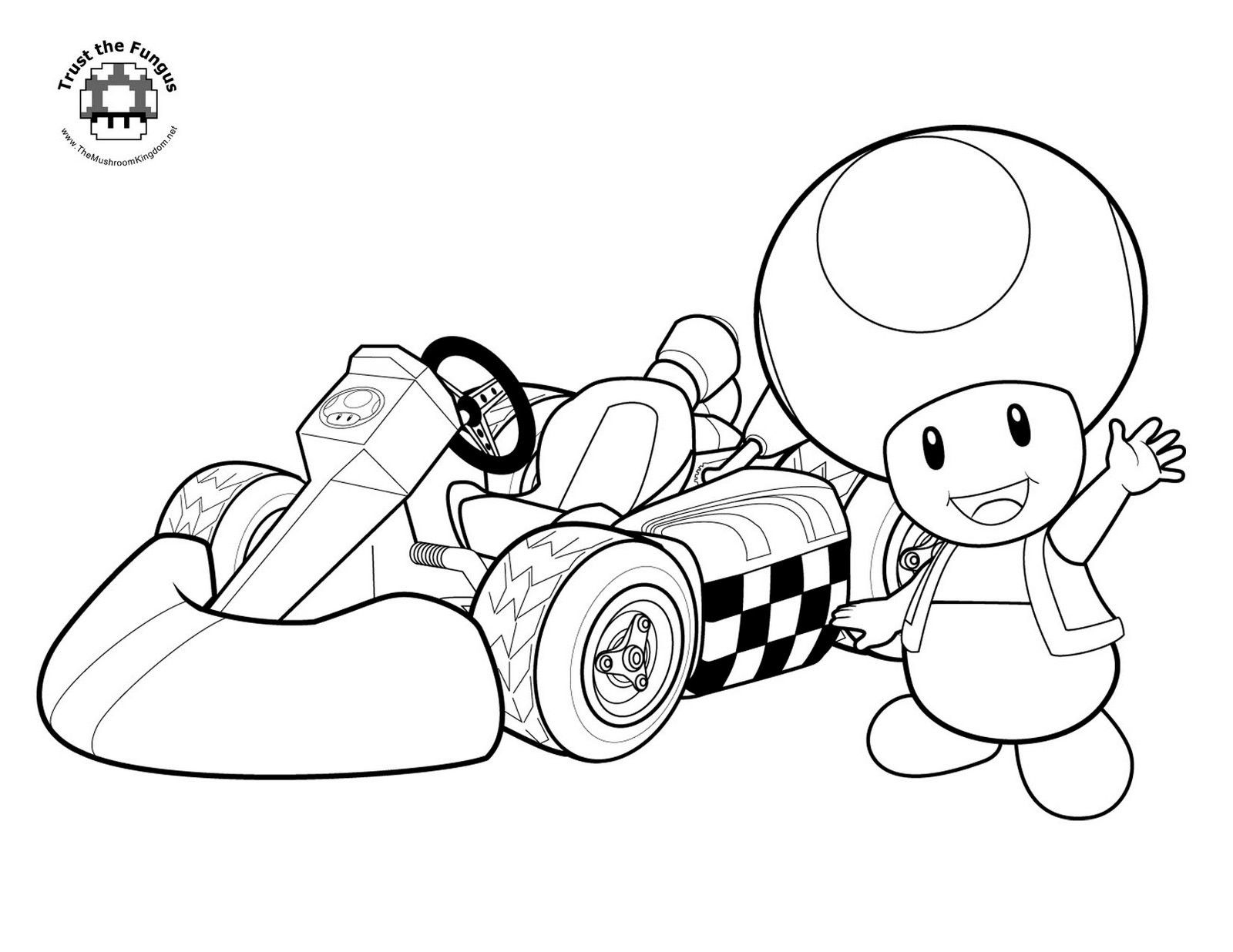 Toad Mario Kart coloring page print | Adult Coloring Pages *The BEST ...