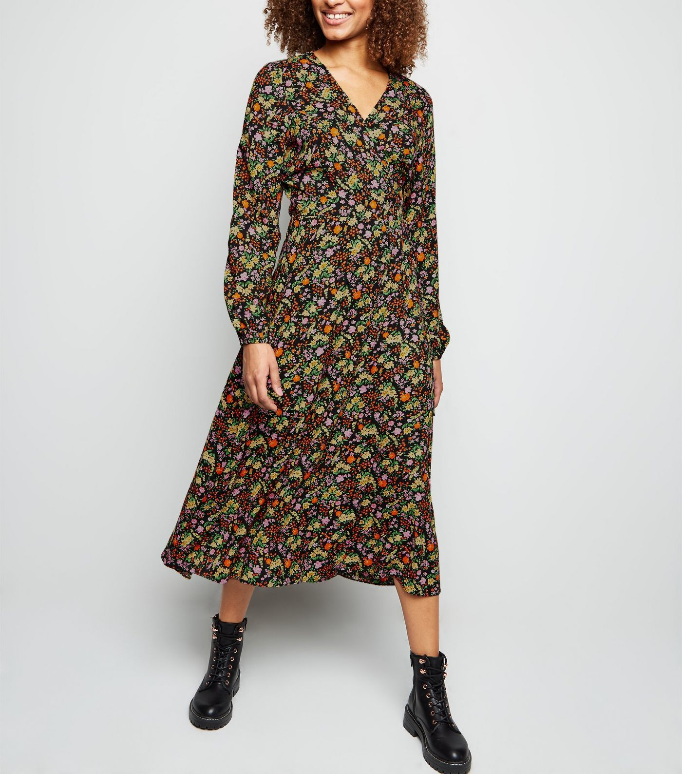 Tall Black Ditsy Floral Long Sleeve Button Midi Dress New Look Long Sleeve Floral Dress Floral Midi Dress Chiffon Midi Dress [ 1588 x 1400 Pixel ]