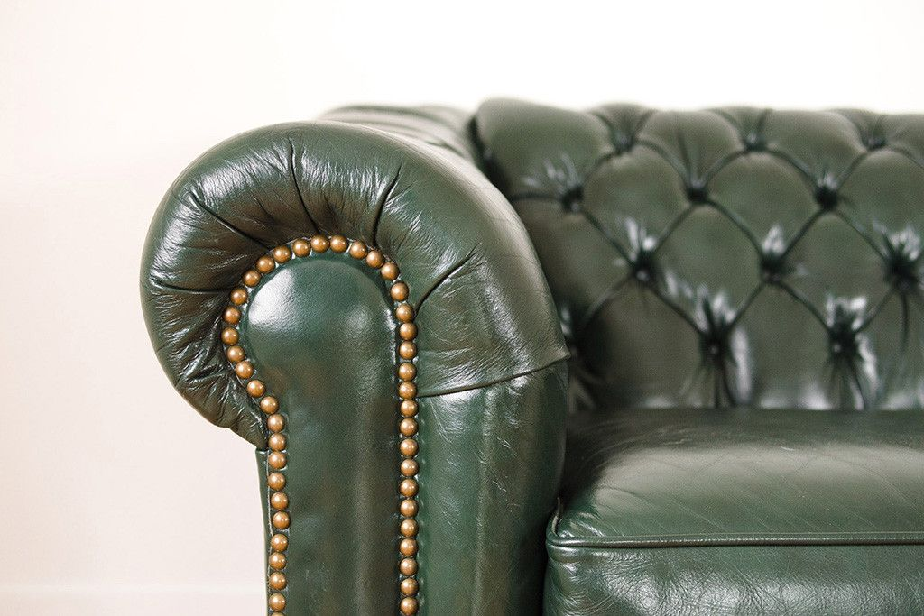 Vintage Green Leather Chesterfield Sofa Tufted Couch Nailhead Trim Wood Bun Feet Leather Chesterfield Green Leather Chesterfield Sofa Green Leather