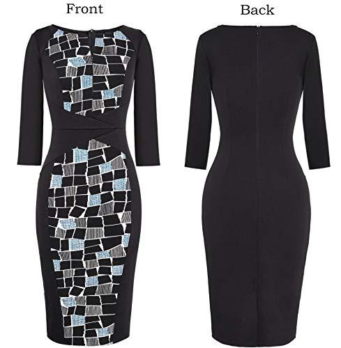 VFSHOW Womens Elegant Slim Zipper up Work Business Office Bodycon Sheath Dress
