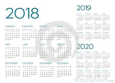 English Calendar 2018 2019 2020 Vector Text Is Outline Font Is
