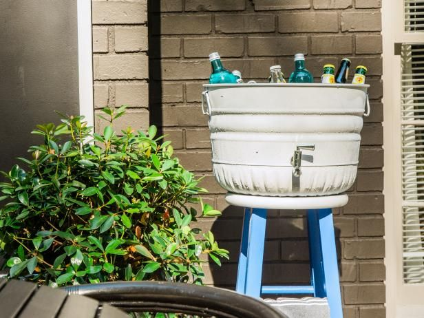 DIY Upcycled Stool Beverage Station
