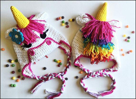 Crochet Pattern Unicorn Earflap or Beanie Hat AngelsChest - Pattern ...