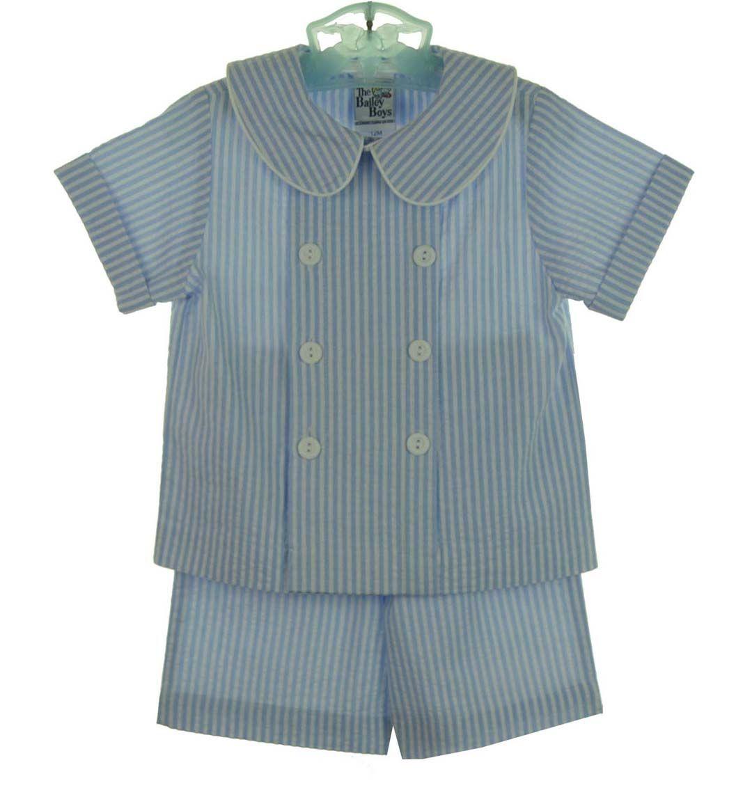 879b1d800 NEW Bailey Boys Blue Seersucker Striped Double Breasted Shorts Set $70.00