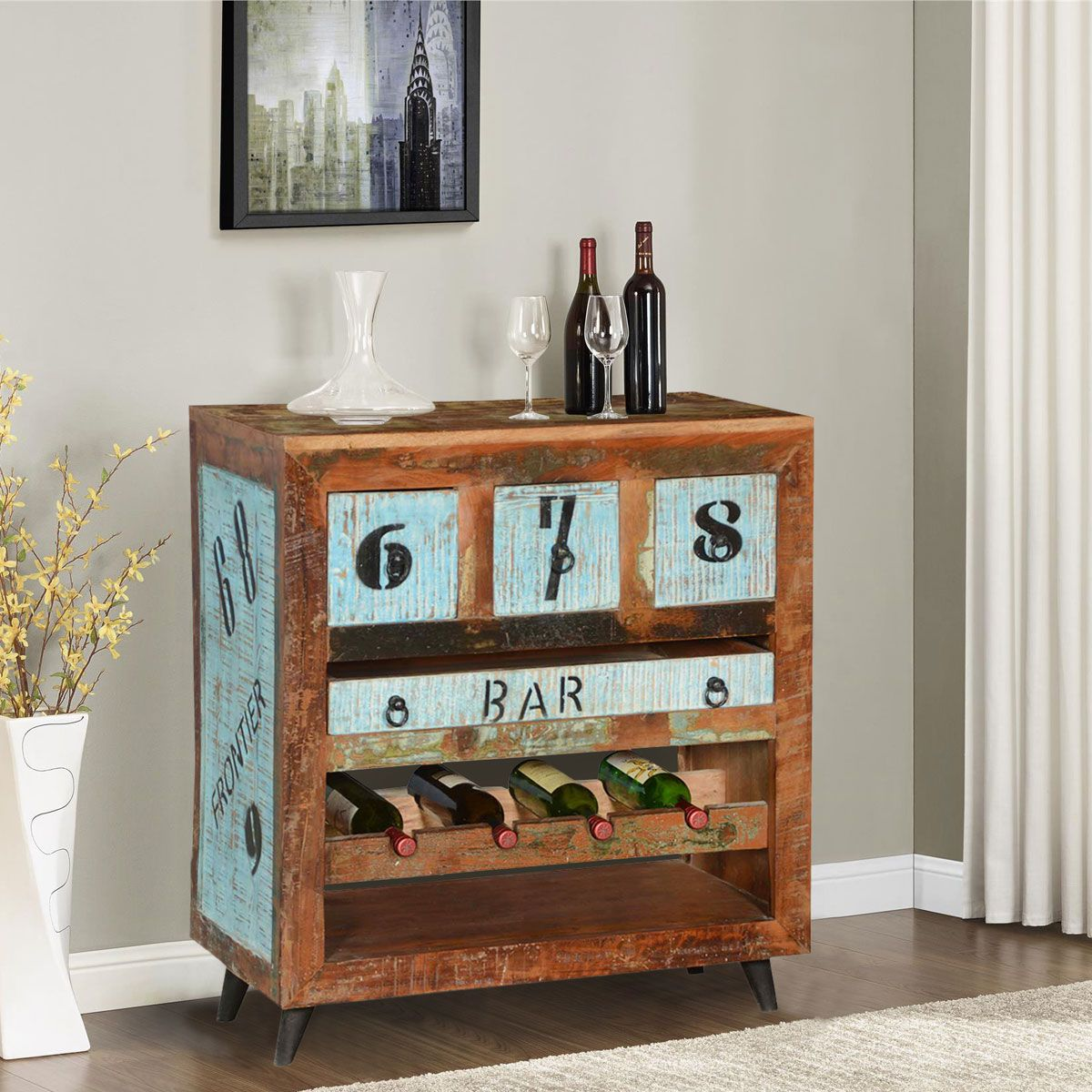 Sierra living concepts by the numbers reclaimed wood wine rack bar cabinet bars bar stools rustic farmhouse furniture wine racks cabinets art