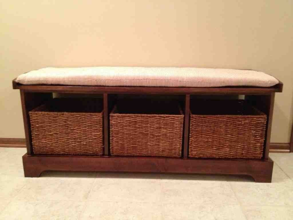 Black Entryway Bench With Storage Baskets Cushions