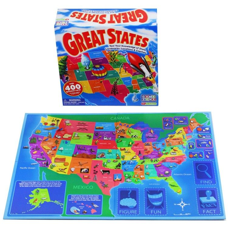 Great States US Map Board Game   Educational board games   Pinterest ...