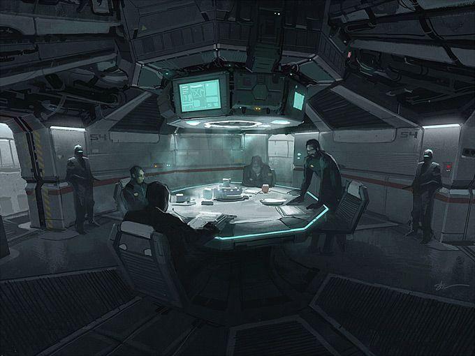 Zasedání oblastní bezpečnostní rady Biodrone Industries.  Concept Art World » Stuart Kim