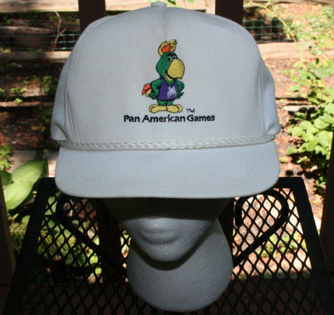 Vintage 1985 PAN AMERICAN GAMES USA Rope buckle CAP Truckers Hat-golf old  school 3874251ab66
