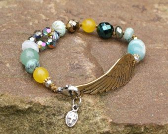Angel wing beaded bracelet - 'Wing and a Prayer' bronze angelic symbol, boho chic jewelry, gift for her