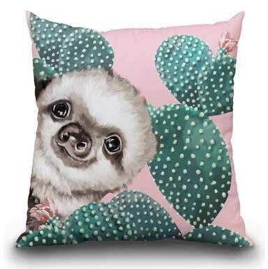 East Urban Home Sneaky Baby Sloth with Cactus Throw Pillow #babysloth