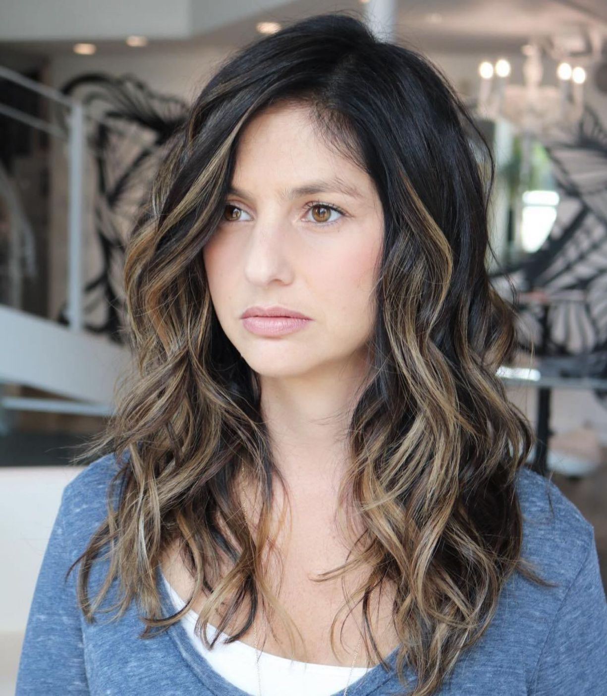 Long Wavy Brunette Balayage Style Thick Hair Styles Thick Wavy Haircuts Medium Length Hair Styles