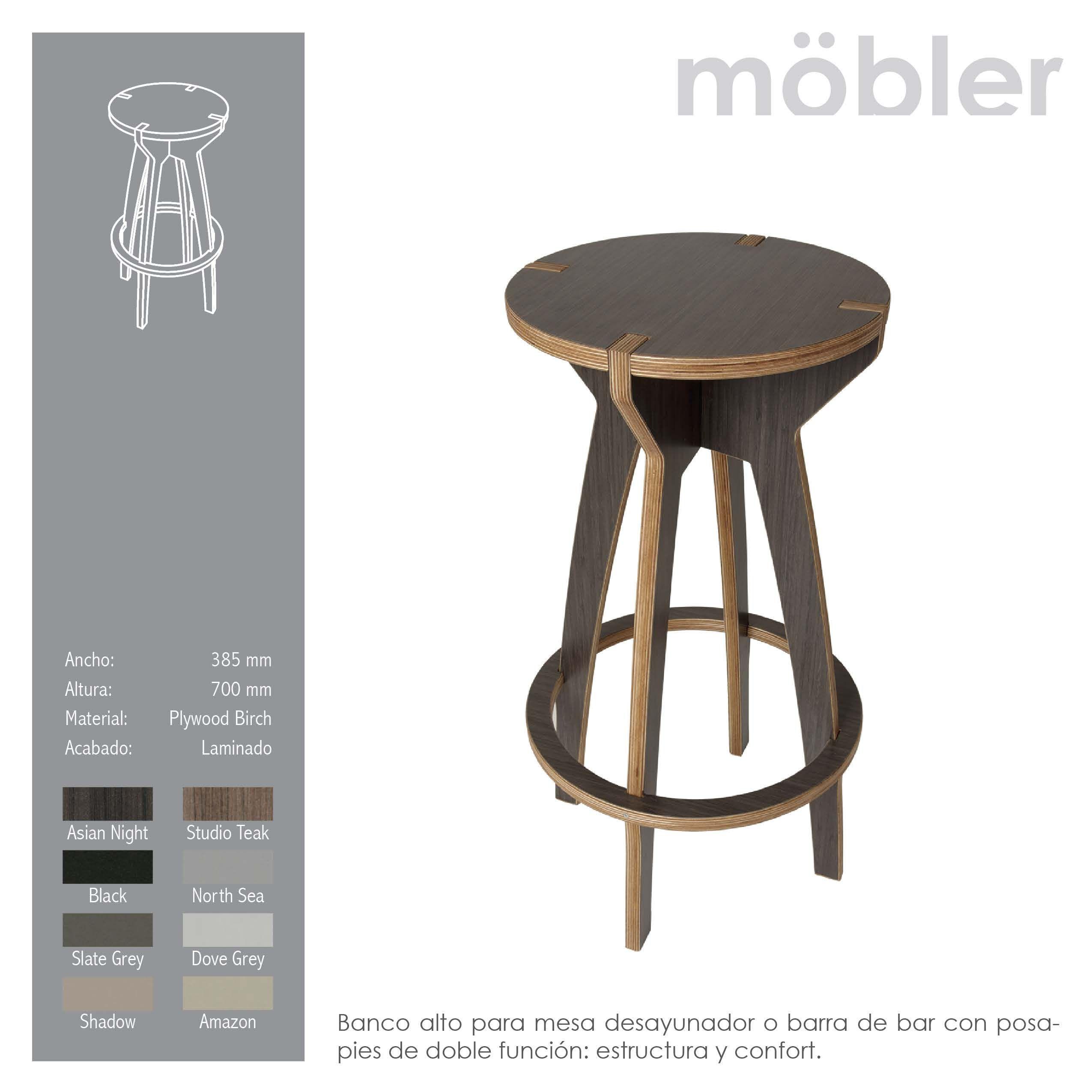 banco alto para mesa desayunador o barra de bar con posa