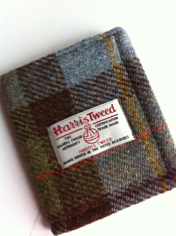 Harris tweed mans wallet made in Scotland gift Scottish wool vegetarian  vegan wool plaid tartan UK British. 6f20a4d8b79e