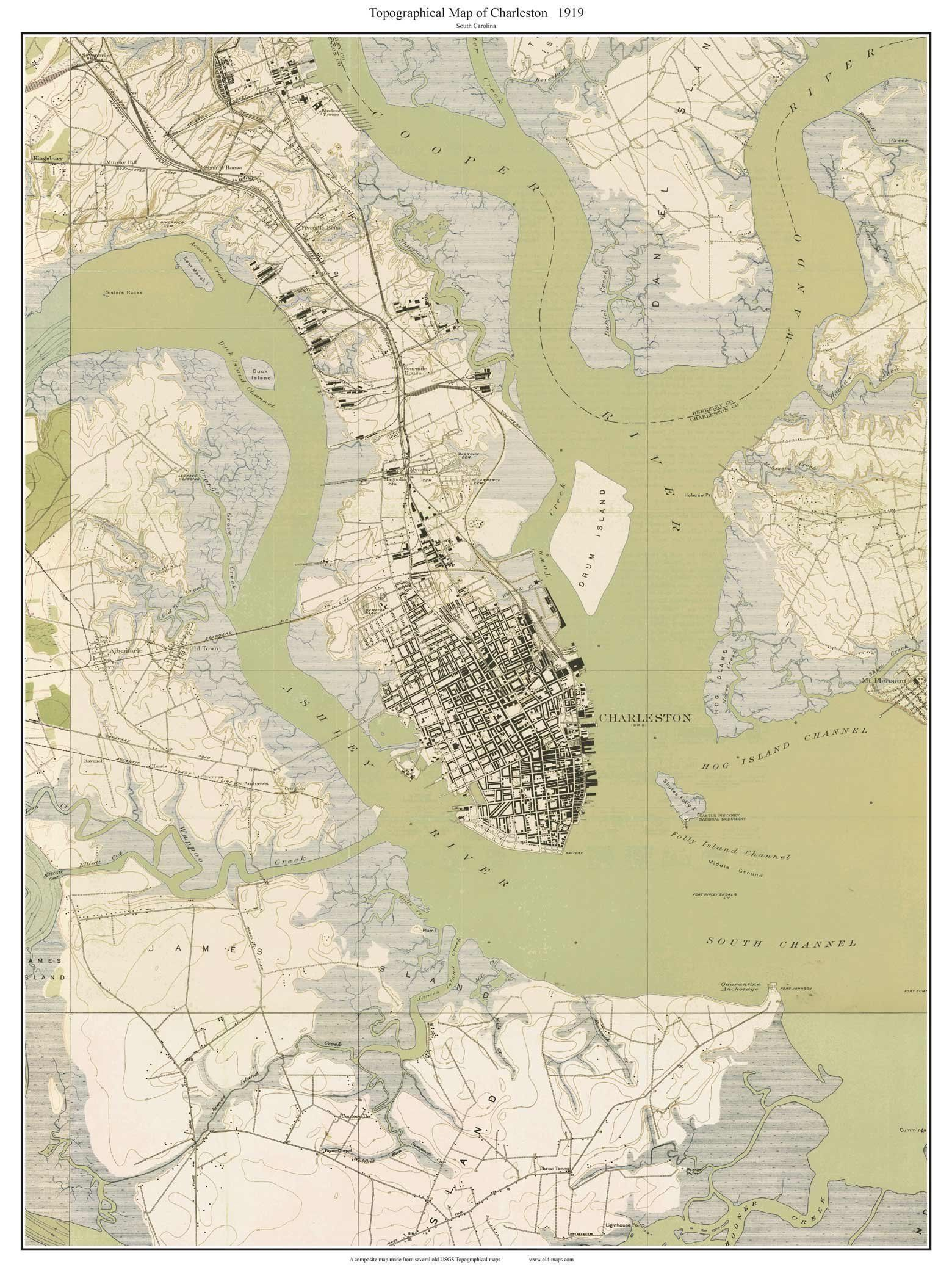 Charleston SC Topo Map USGS Custom Composite Reprint South - How to increase cache size us topo maps pro