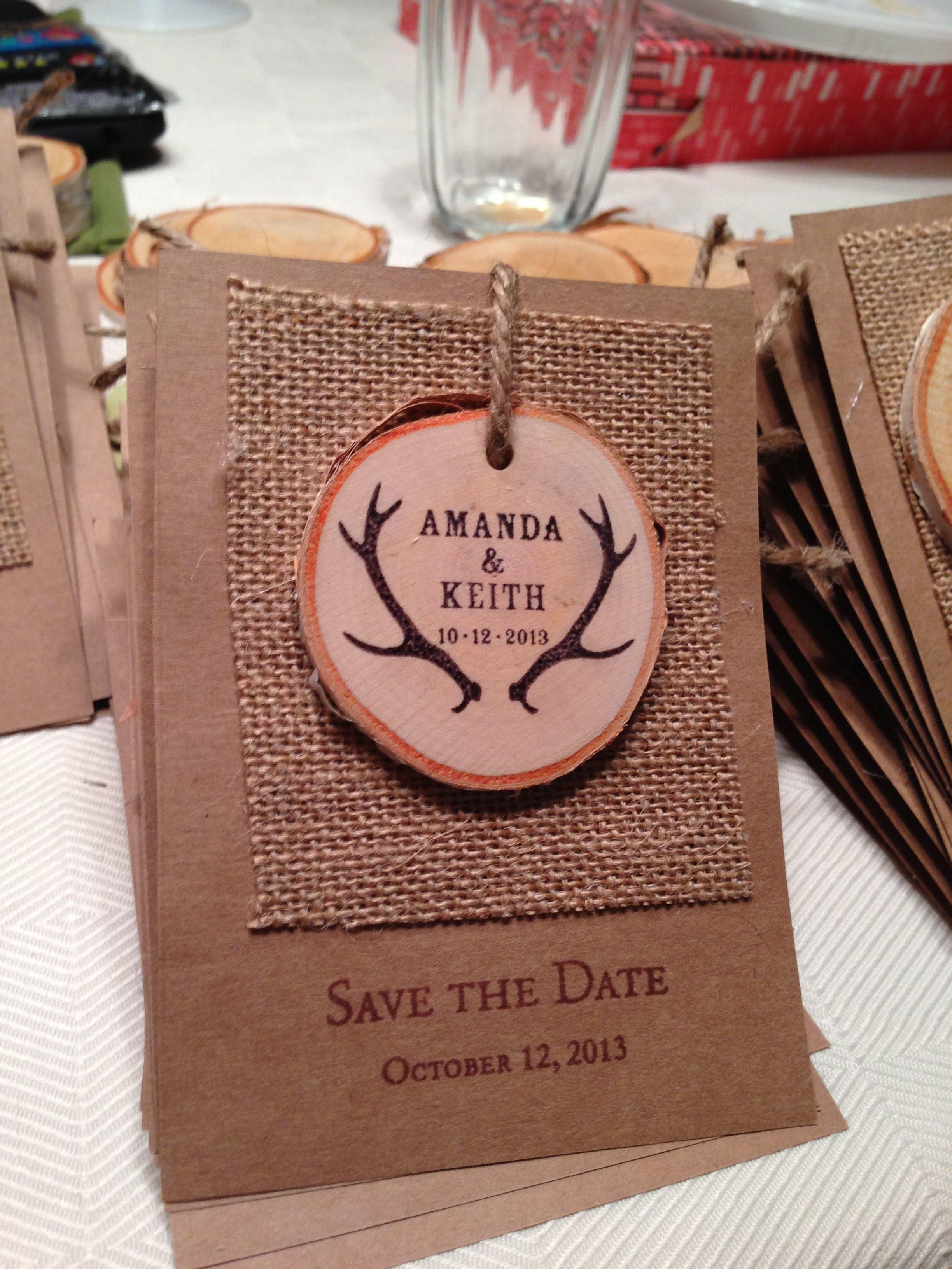 My Diy Save The Dates Deer Antler Invites Burlap And Kraft Paper
