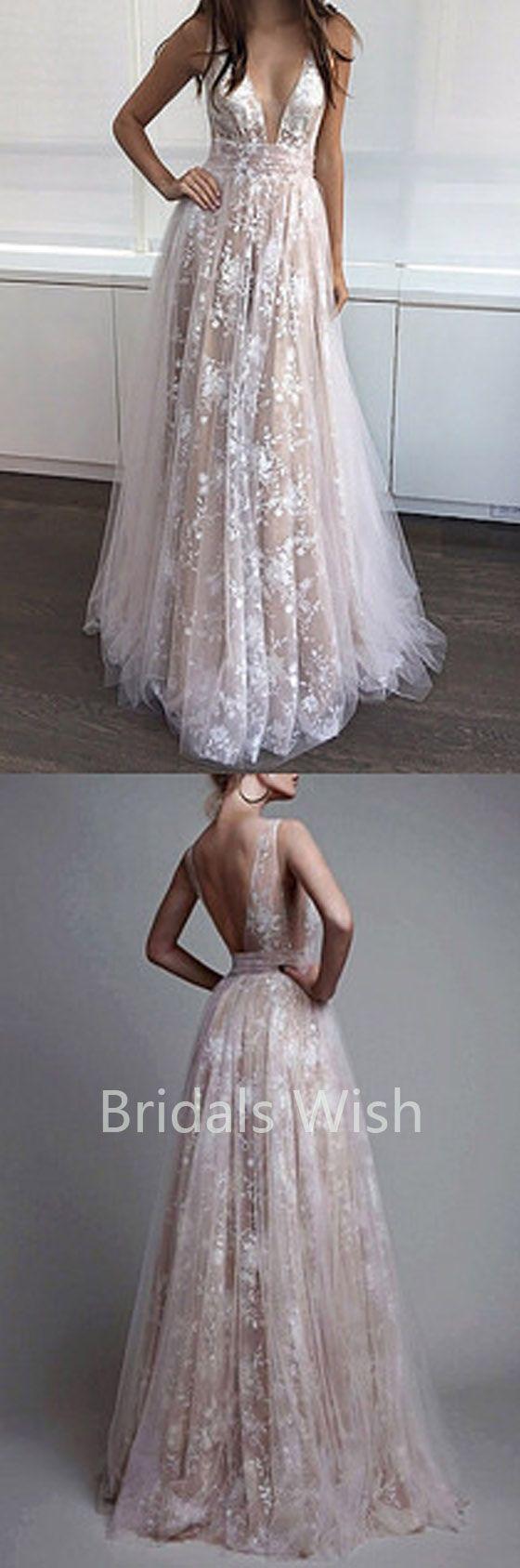Champagne long prom dresses vneck long prom dresseslace long prom