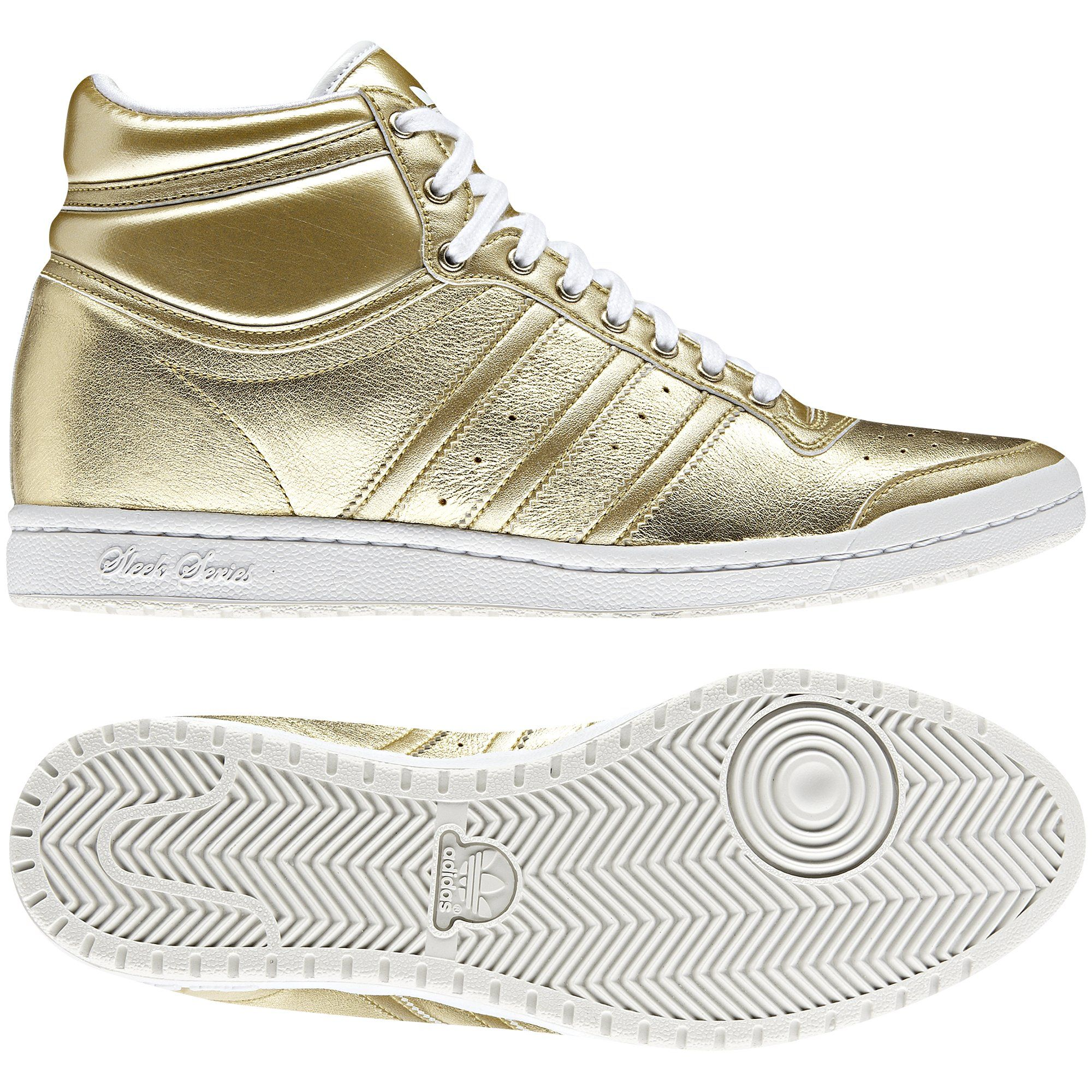 Adidas. TOP TEN HI SLEEK W HEEL Mujer, Metallic Gold