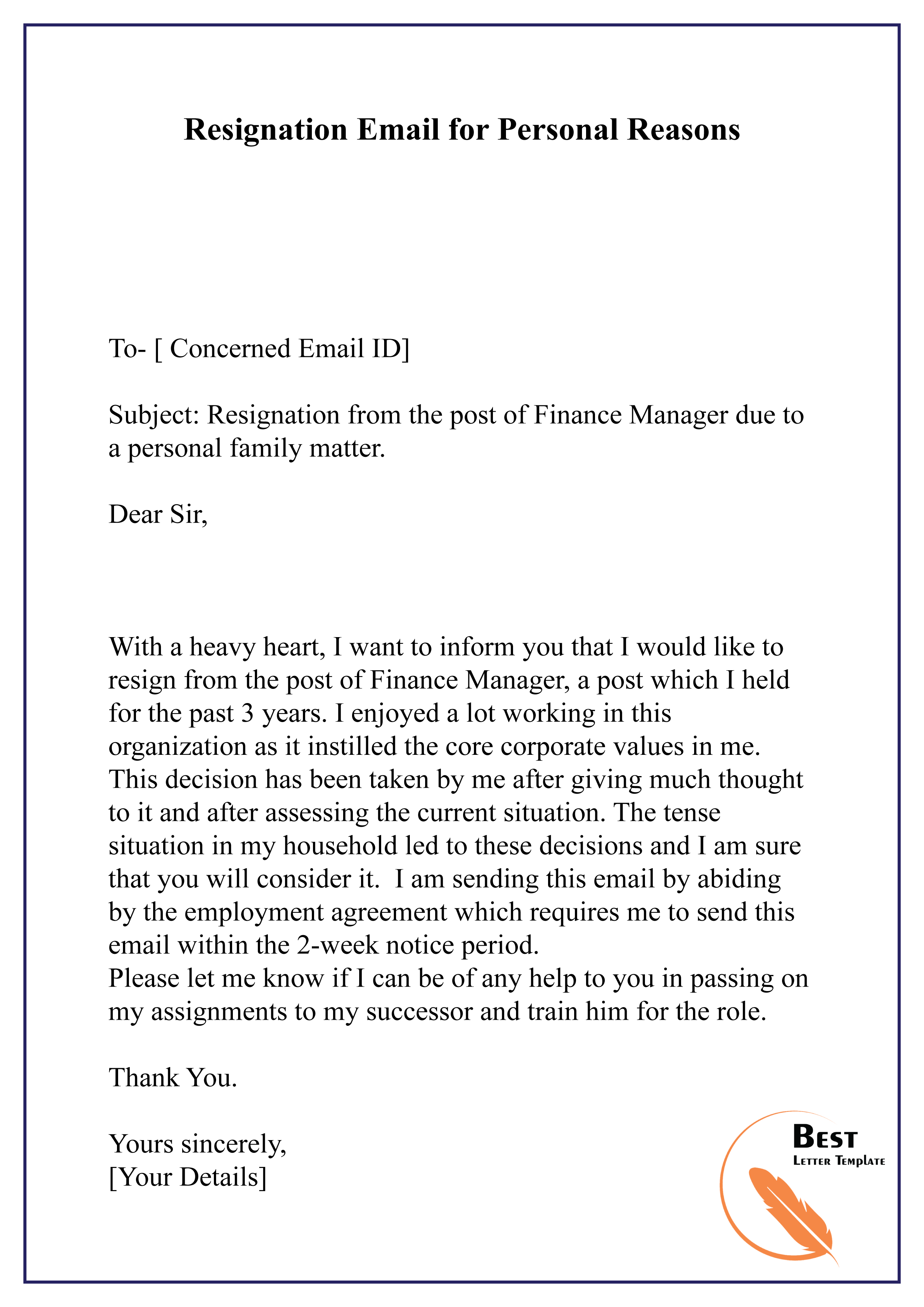 Resignation Letter Template For Personal Reasons What