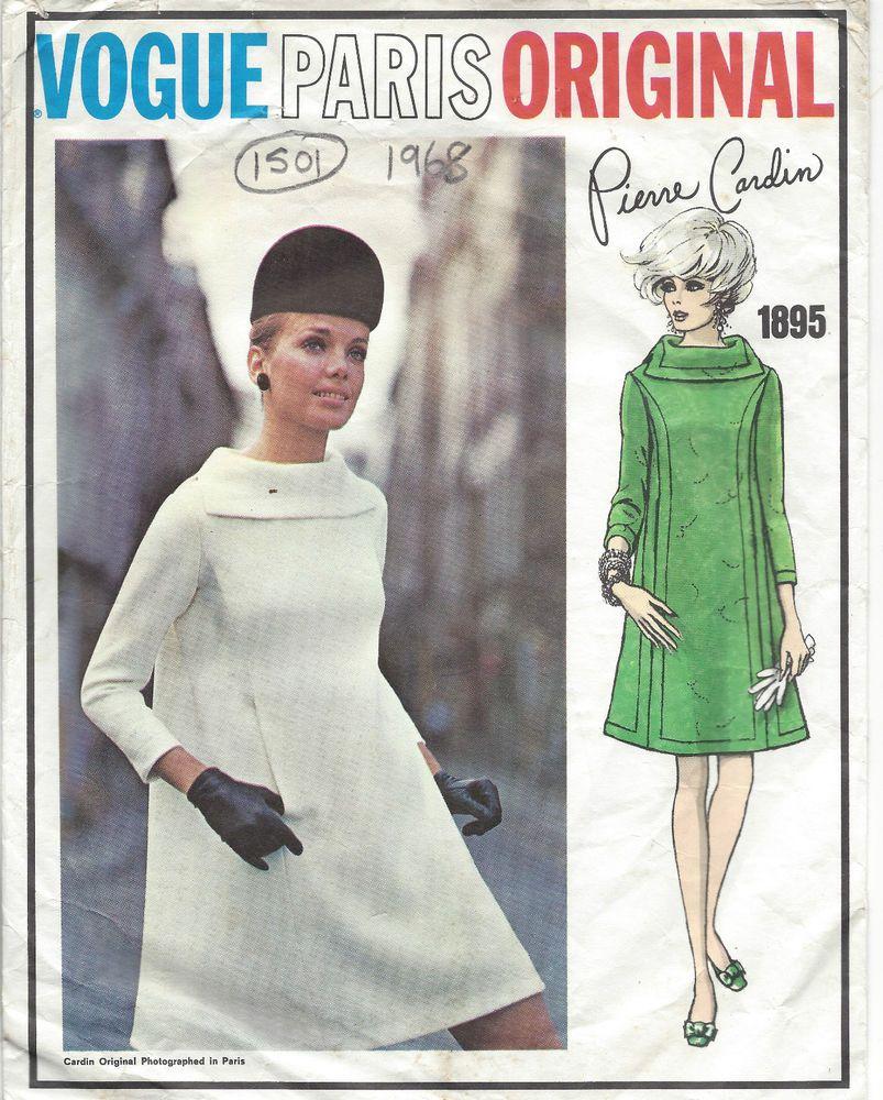 1968 Vintage VOGUE Sewing Pattern DRESS B34 (1501) By Pierre Cardin ...