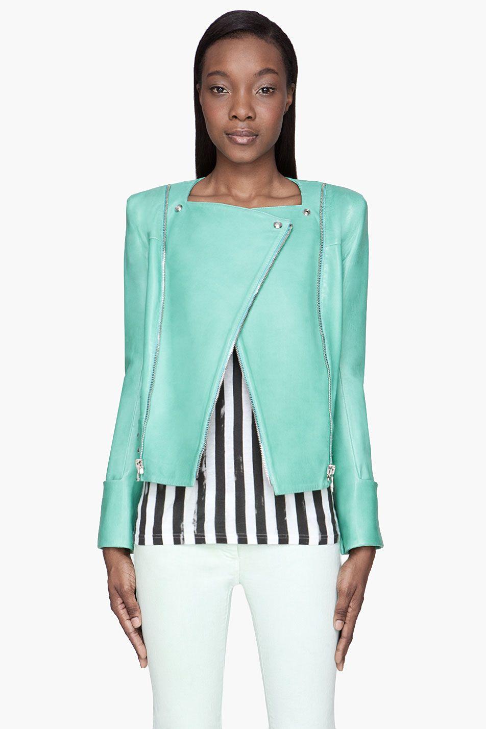 903b3857 Women's Mint Green Leather Zipped Biker Jacket in 2019 | Clothes ...