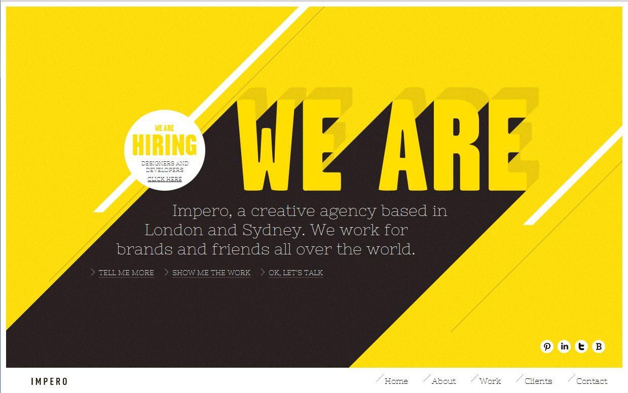 Impero Black White Yellow Colour Scheme For Website Design Http Weareimpero Com Web Design Inspiration Website Design Web Design