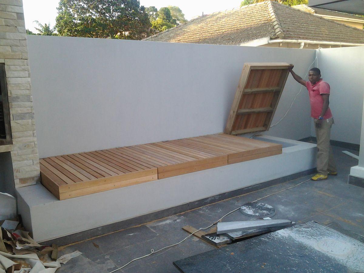 Bench Seating With Storage Pool Landscaping Backyard Backyard Pool
