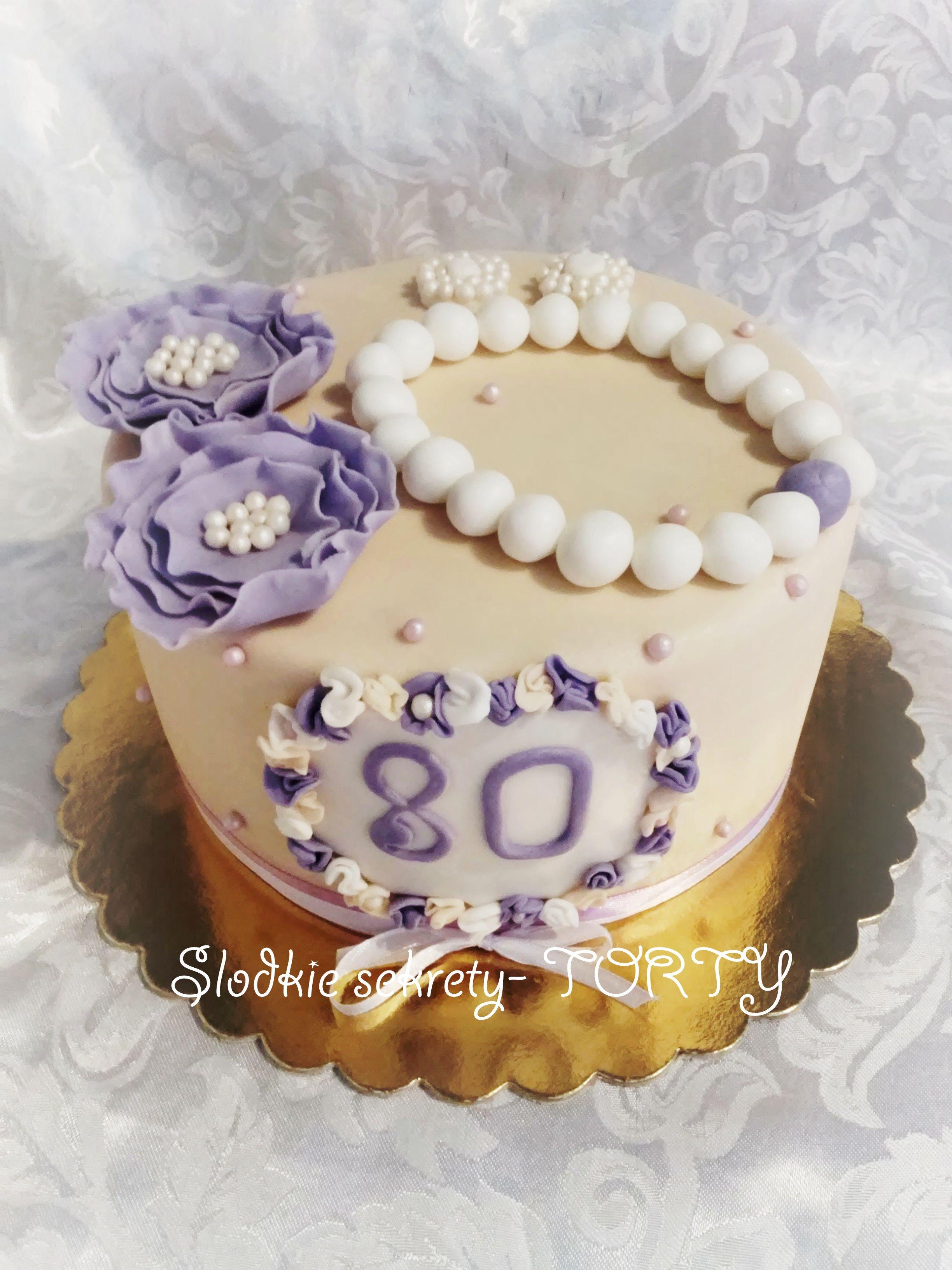 80st Birthday Cake Purple Ecru Flowers Pearls Earrings Moje Torty