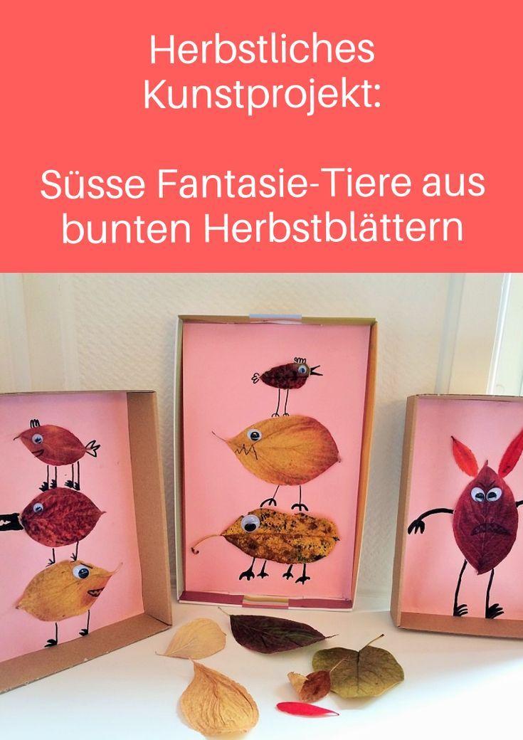 Herbstliches Kunstprojekt: Fantasie-Tiere aus Blättern - Schweizer Familienblog: DIE ANGELONES