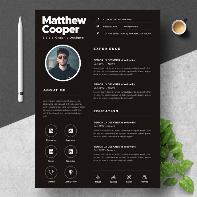 Black Clean Resume Template Psd - Clean resume template, Clean resume, Resume template, Graphic resume, Cv resume template, Resume - More than 3 million PNG and graphics resource at Pngtree  Find the best inspiration you need for your project