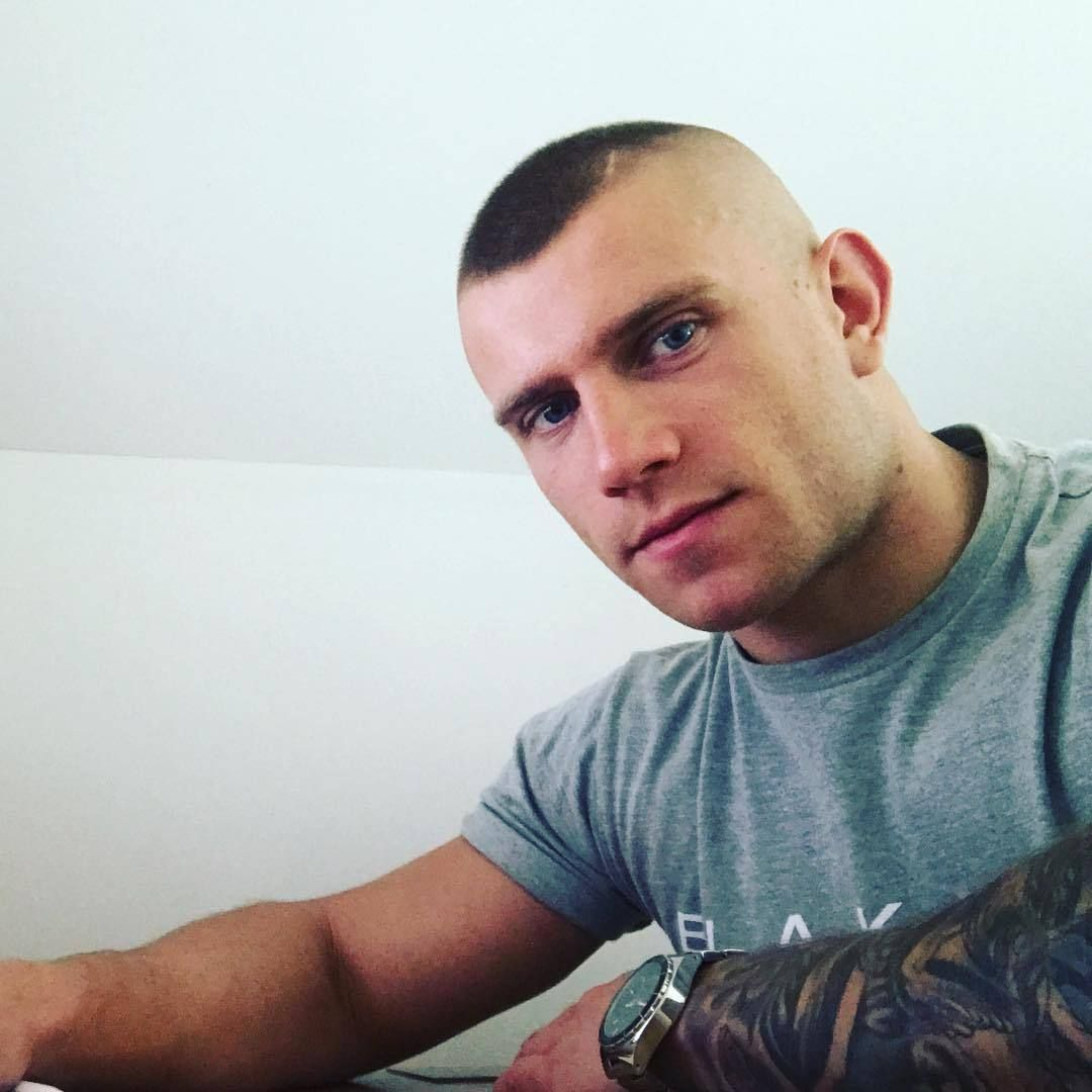 Mens military haircut  warning go away shaved head  buzzcut  military cutting  wet