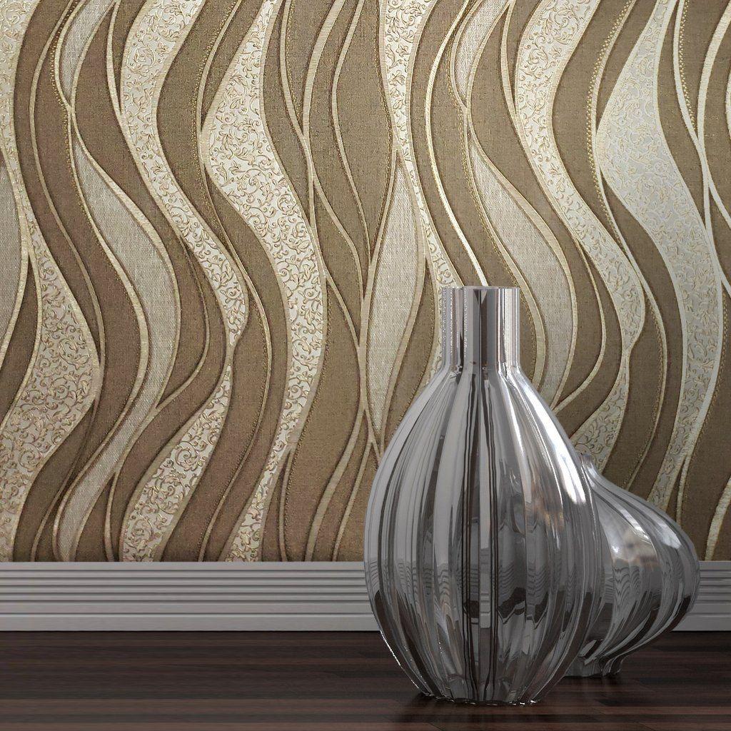 856212 textured Wave lines brown Gold Metallic Wallpaper