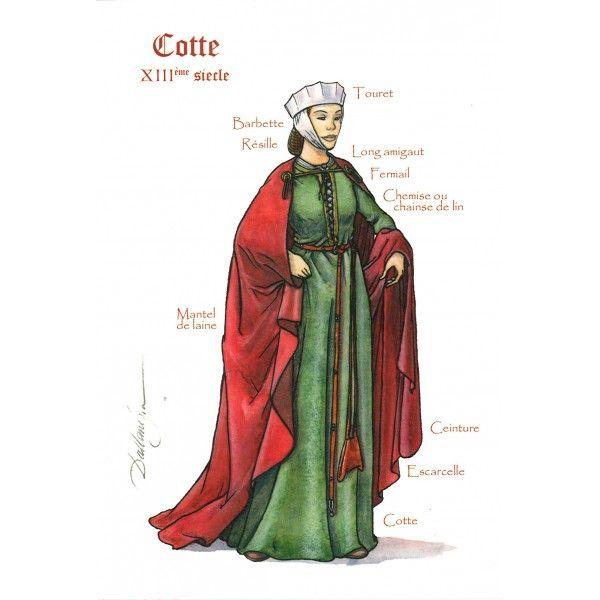 Cotte 13ème s en 2019 Costume médiéval, La mode