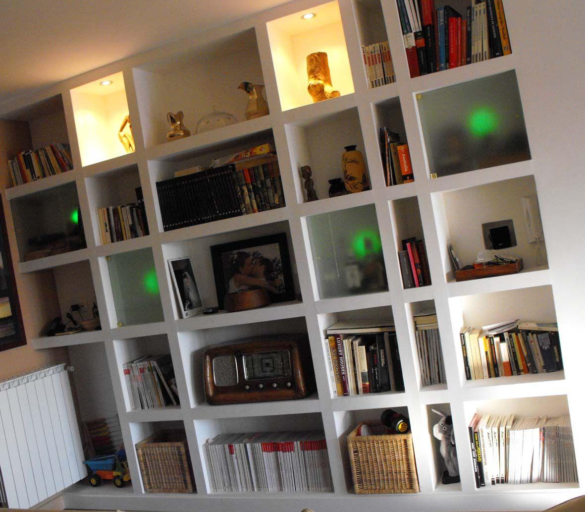 Villetta a riano libreria in cartongesso con luci led - Librerie arredo design ...