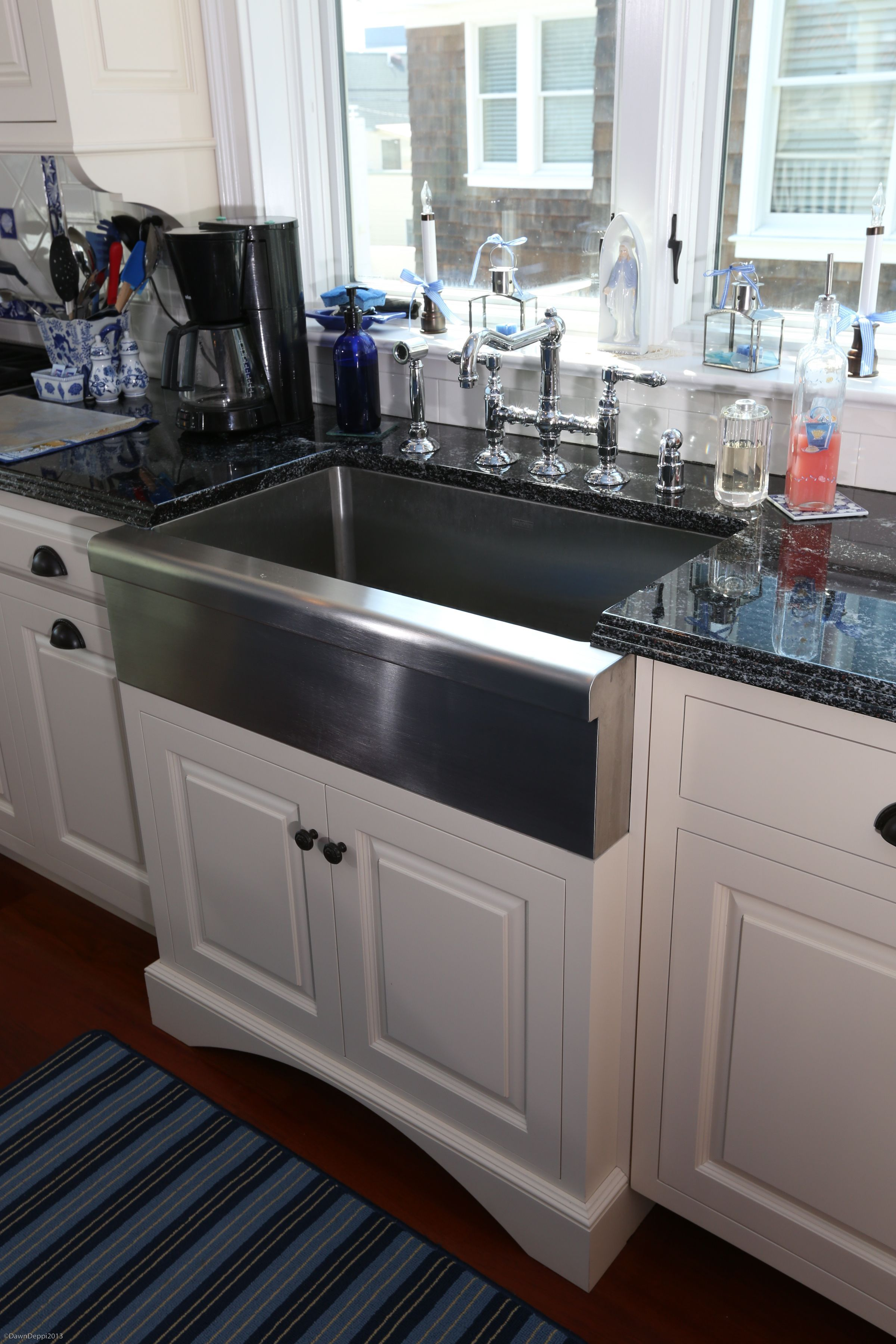 Close-up of Stainless Steel Farm Sink, with bridge faucet. Custom ...