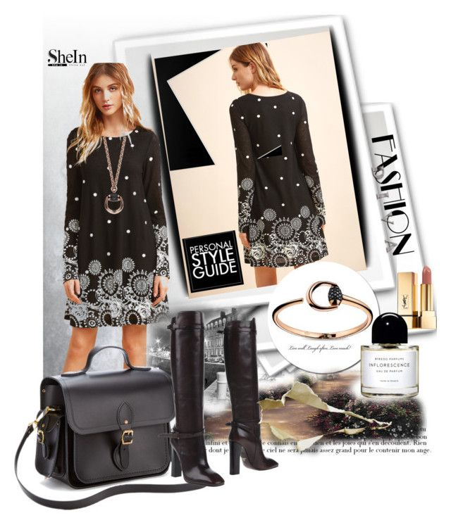 """""""Black Retro Circle Print Tunic Dress"""" by manuela-cdl ❤ liked on Polyvore featuring Guide London, Yves Saint Laurent, Byredo, The Cambridge Satchel Company, Prada and Gucci"""