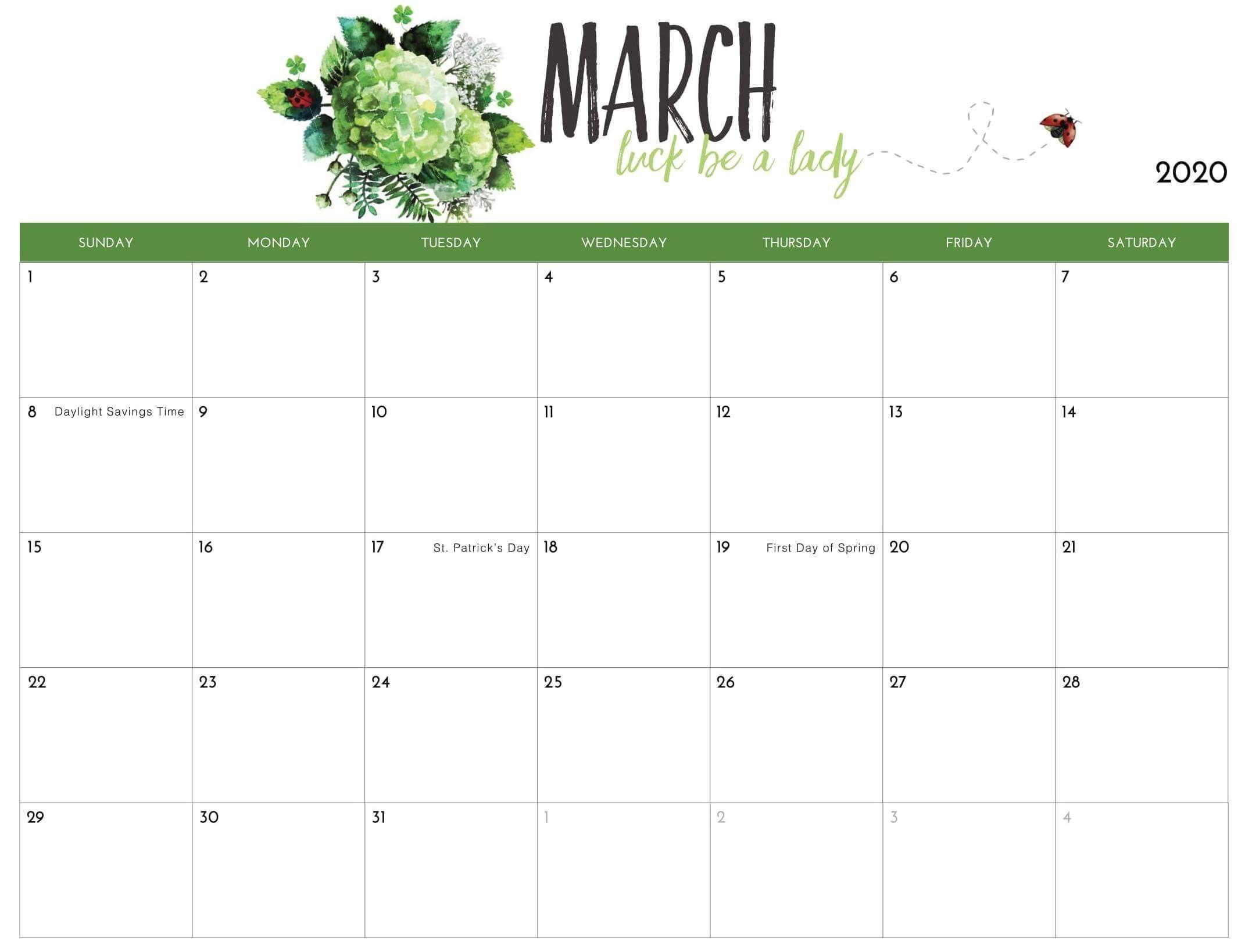 Free Printable March Calendar Editable Template