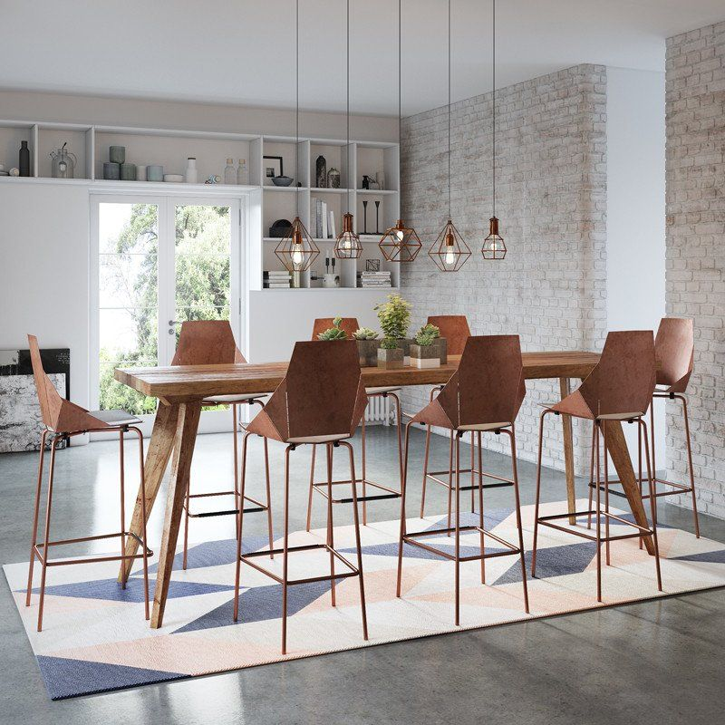 Modern Rustic Mid Century (2.5m) High Bench Table, Kitchen