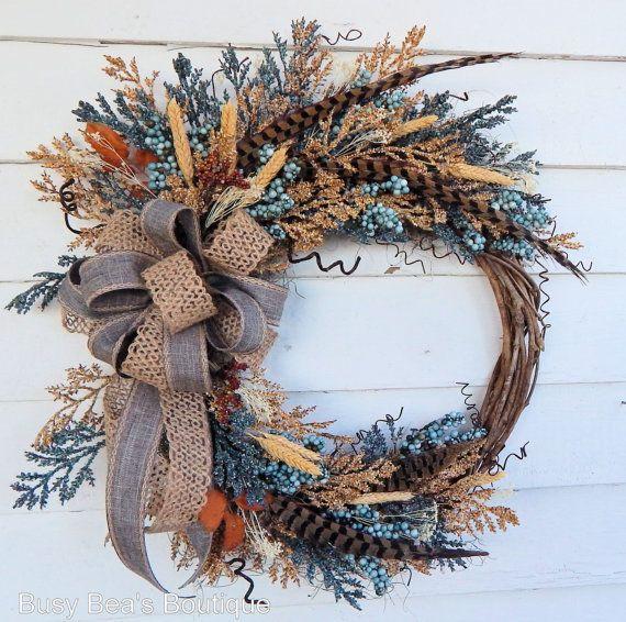 Spring Wreath Winter WreathFront Door Silk Floral Year Round WreathRustic WreathWoodland Monogram