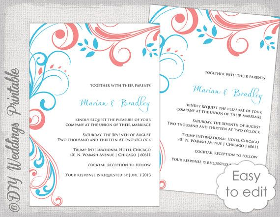 Wedding invitation template Turquoise coral Scroll printable