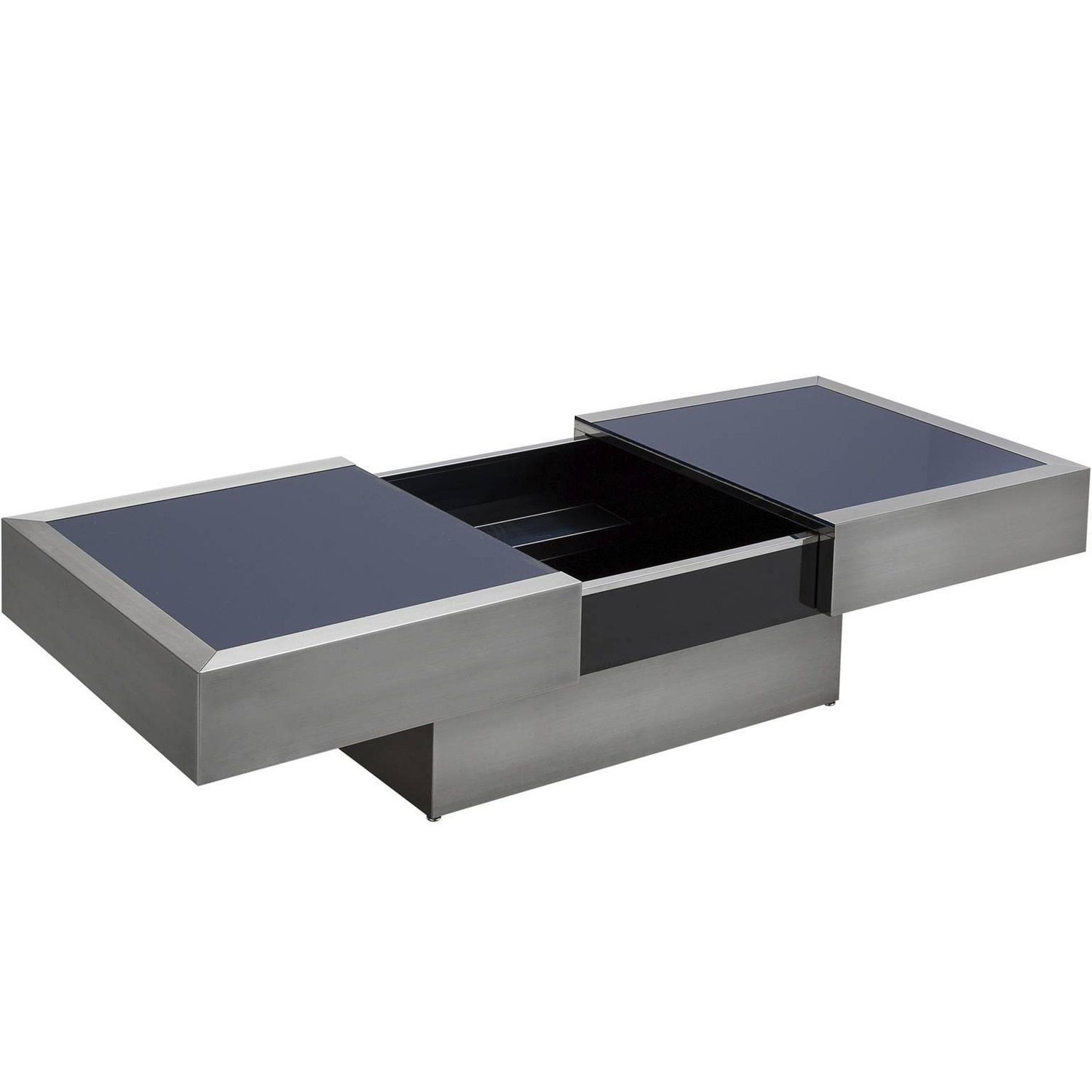 Extendable Cocktail Table In Steel And Blue Glass