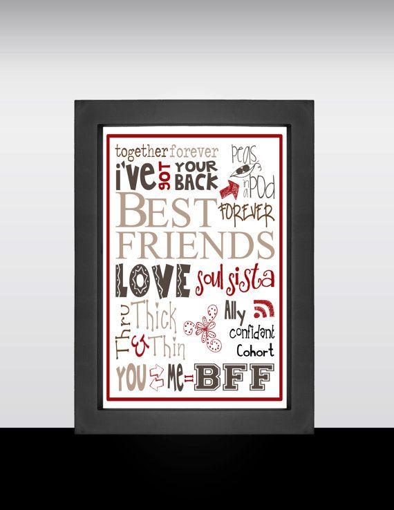 Best Friend Word Art Picture Print Gift Present Canvas Friends Keepsake