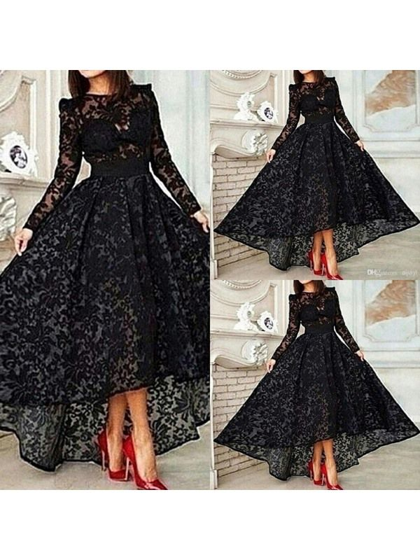 aa7a4401b08723 Ericdress Long Sleeve A-Line Asymmetrical Length Lace Evening Dress ...