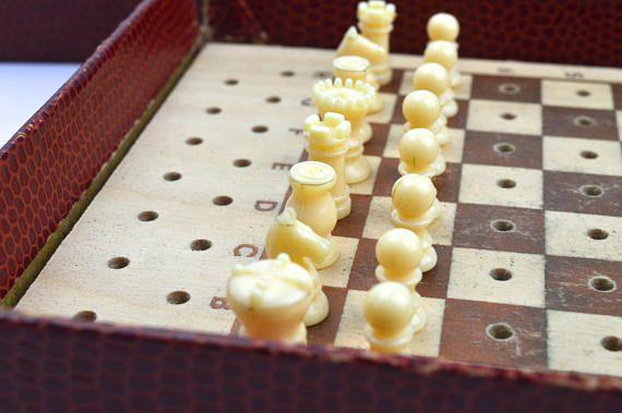 KC Vintage Pocket Chess Travel Chess Set Vintage Toy Let\u0027s Play - chess score sheet