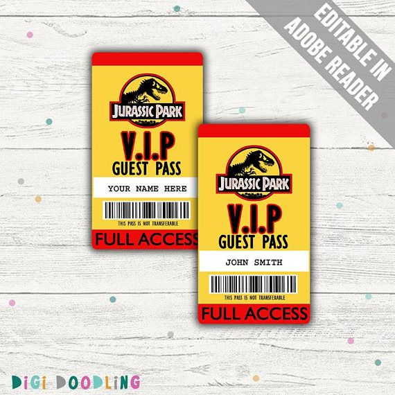 Jurassic Park Costume ID Badge Visitor Pass