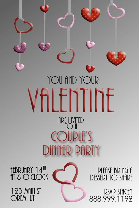Marvelous February Dinner Party Ideas Part - 14: Adult Valentineu0027s Dinner Party Invitation 4x6 By WriteontheDot, $12.00