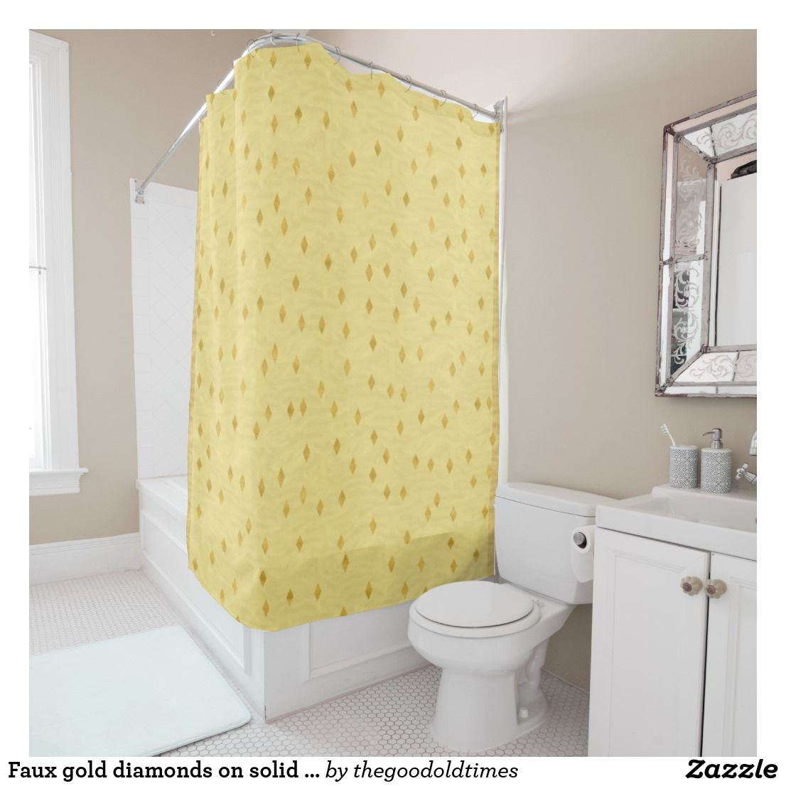 Faux Gold Diamonds On Solid Golden Like Background Shower Curtain