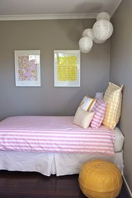 Grey Gray Pink Yellow Kids Bedroom Girls Room Decor Yellow Kids