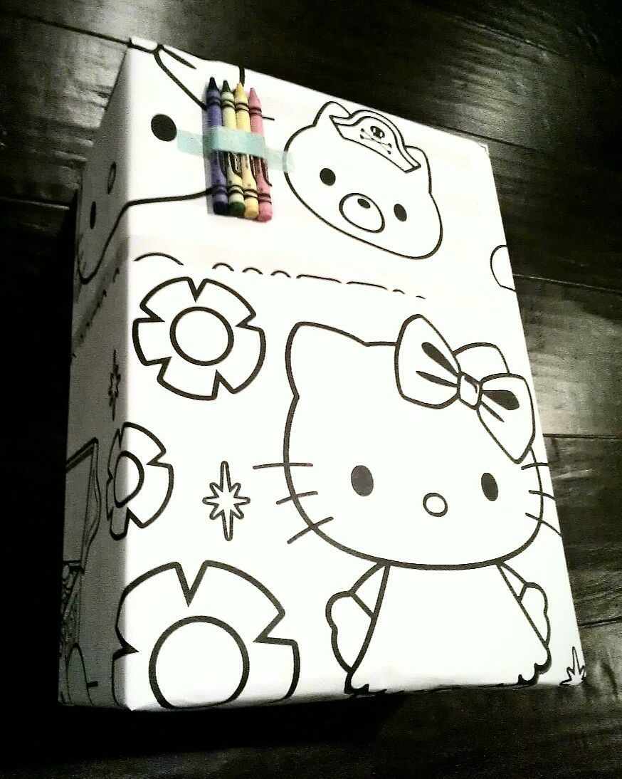 Coloring Book Pages As Gift Wrap Add Crayons Wrapping Gift Cards Gift Wrapping Diy Gift Wrapping