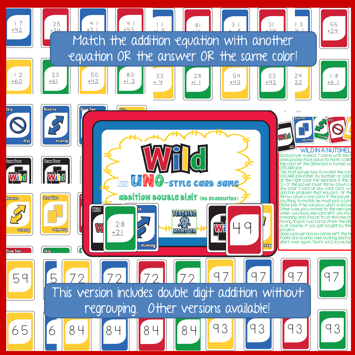 Wild Card Game Double Digit Addition No Regrouping